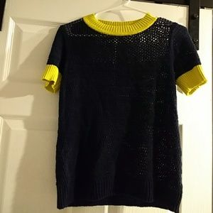 Anthropologie Moth Knit Navy Blouse sz S